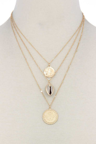 Seashell Coin Charm Layered Necklace - myfoxyfarmdesigns.com