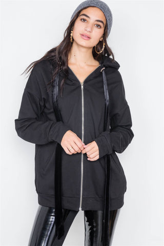 Black Cotton Zip-up Hoodie Sweater - myfoxyfarmdesigns.com