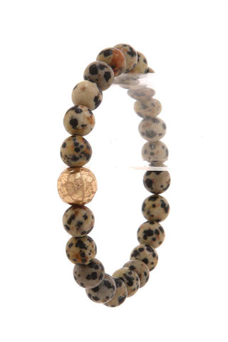 Hammered Metal Ball Beaded Stretch Bracelet - myfoxyfarmdesigns.com