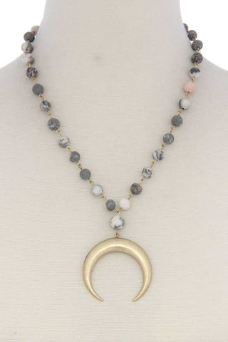 Crescent Moon Beaded Necklace-5 colors - myfoxyfarmdesigns.com