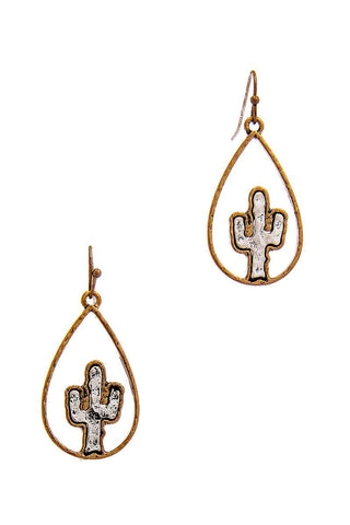 Two Tone Tear Drop Out Lined Cactus Dangle Earring - myfoxyfarmdesigns.com