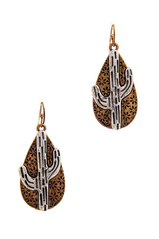 Chic Tear Drop Cactus Dangle Earring - myfoxyfarmdesigns.com