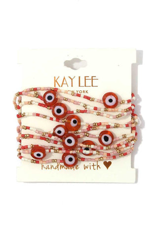Evil Eye Beaded Stretch Bracelet Set - myfoxyfarmdesigns.com