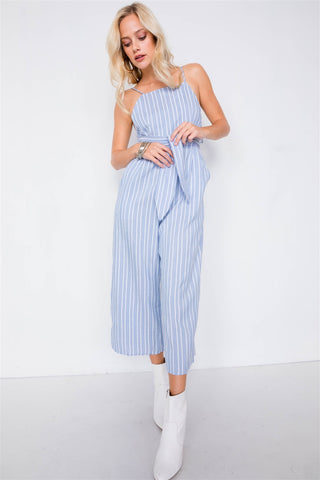 Stripe Front Tie Waist Band Open Back Jumpsuit - myfoxyfarmdesigns.com