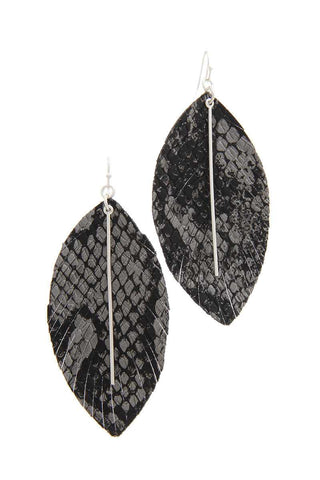 Snake Pattern Metal Bar Drop Earring - myfoxyfarmdesigns.com