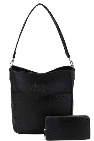 2in1 Modern Croco Pattern Hobo Bag With Matching Wallet - myfoxyfarmdesigns.com