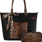 2in1 Leopard and Scarf Tote Bag and Wallet - myfoxyfarmdesigns.com