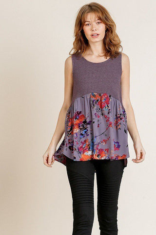 Sleeveless Waffle Knit Round Neck Tank Top - myfoxyfarmdesigns.com