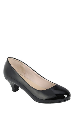 Ladies fashion high heel pump, closed round toe, kitten heel, slip on closure - myfoxyfarmdesigns.com