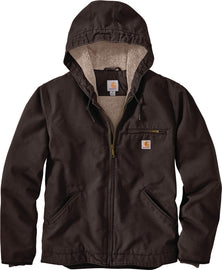 Men's Carhartt 104392 DKB heavyweight duck jacket with a Sherpa lining Dark Brown