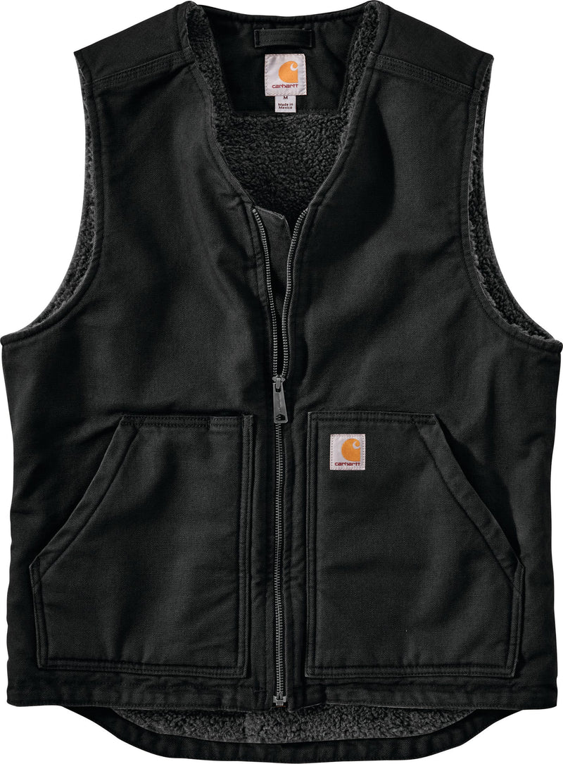 Carhartt 104394 BLK Washed Duck Sherpa Lined Vest Black