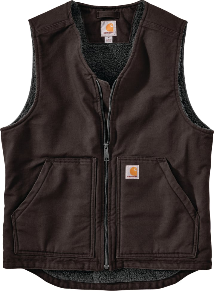 Carhartt 104394 DKB Washed Duck Sherpa Lined Vest Dark Brown