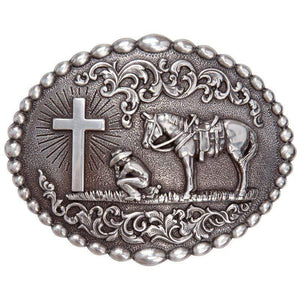 Praying Cowboy w/Cross & Horse Belt Buckle