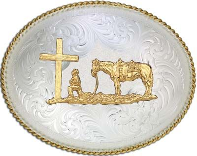 Large Oval Cowboy at Cross Belt Buckle<br>Montana Silversmiths 1350-731
