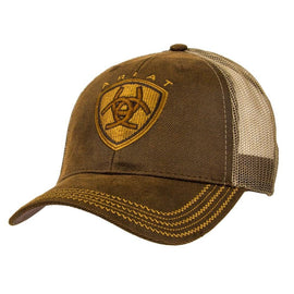 Brown Oilskin with Mesh Back Logo Velcro Back Cap<br>Ariat 1515602