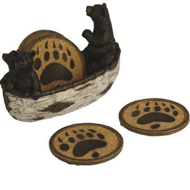 4 Piece Bears in a Boat Coaster Set<br>River's Edge 2040