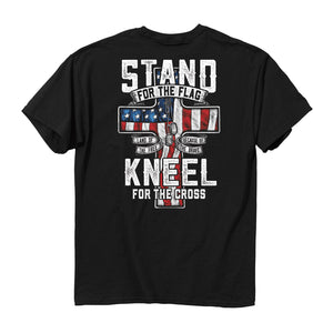 Stand For The Flag Kneel for The Cross T-Shirt<br>Buck Wear 2618