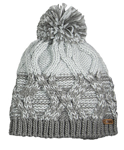 Cable Knit Beanie, Grey/Mint<br>Broner 87-277