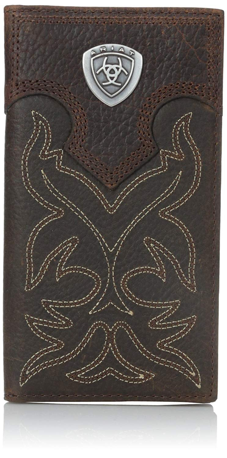 Overlay Boot Stitch & Shield Leather Checkbook/Rodeo Wallet<br>Ariat A3510802