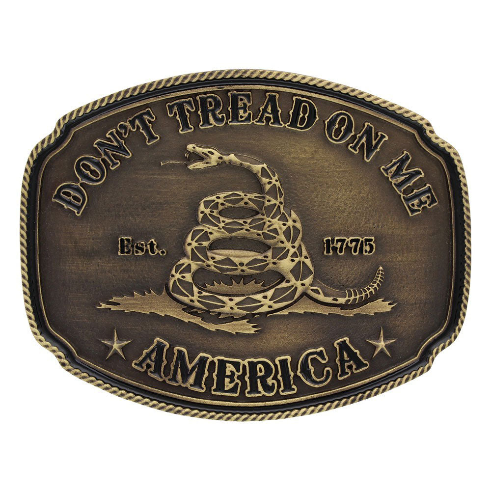 Gadsden Don't Tread on Me Heritage Attitude Belt Buckle<br>Montana Silversmiths A515C