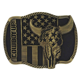 Cowboy Up Strength Heritage Attitude Belt Buckle<br>Montana Silversmiths A713C