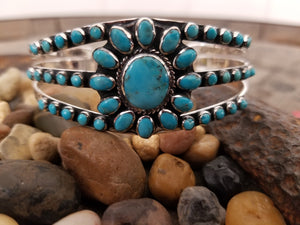 Turquoise Flower and Filigree Sterling Silver Cuff<br>Turquoise Factory B5499-C75