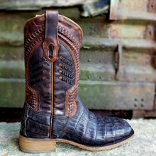 Load image into Gallery viewer, Corral A3878 Oil Brown Caiman Square Toe Western Boot