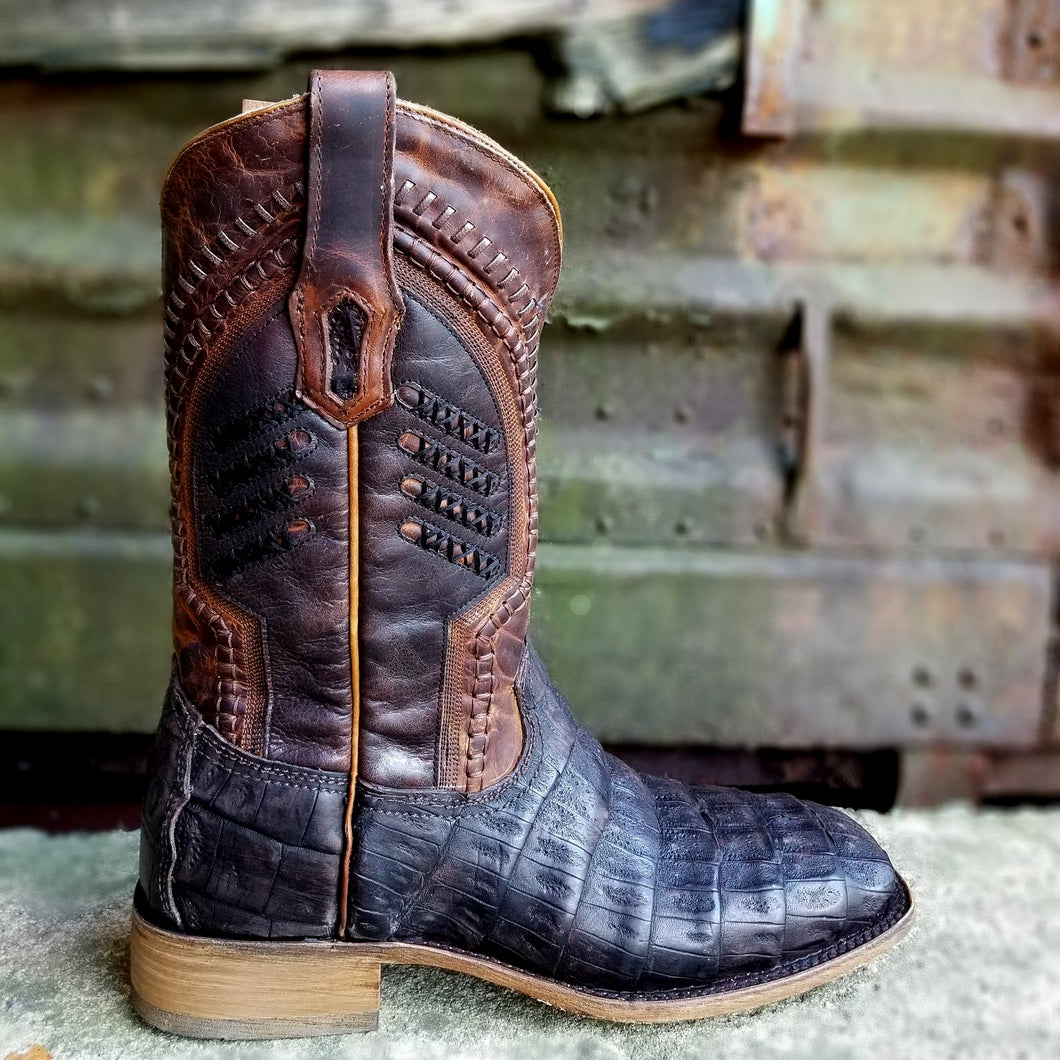 Corral A3878 Oil Brown Caiman Square Toe Western Boot