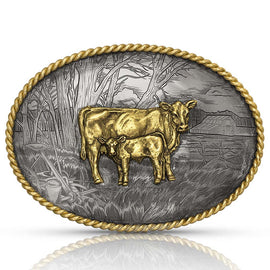 Pastoral Scene with Cow & Calf Belt Buckle<br>Montana Silversmiths G1258-957L