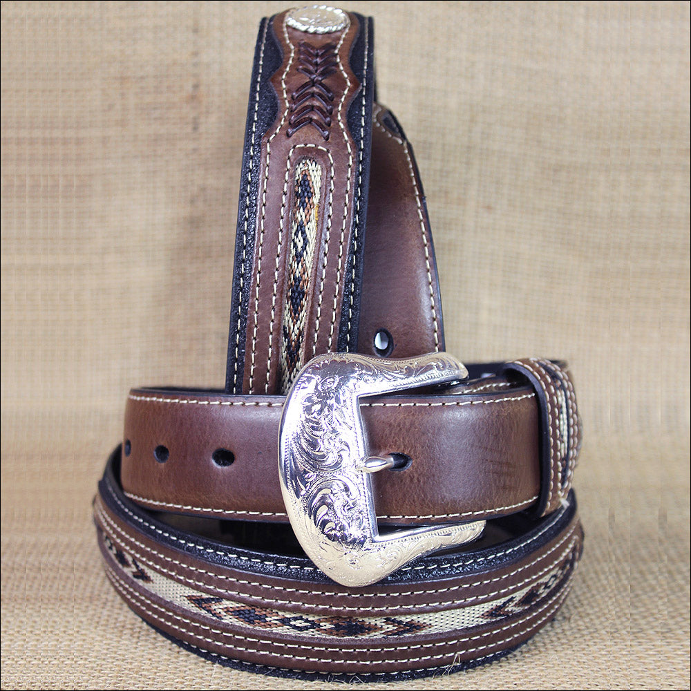 Fabric Inset Center and Conchos Belt<br>Nocona N2475701
