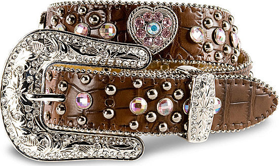 Nocona Girls Brown w/Pink Hearts Belt