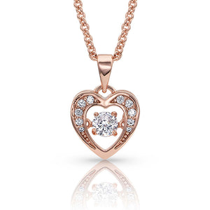 Let's Dance A Little Dance Rose Gold Heart Necklace<br>Montana Silversmiths NC3868RG