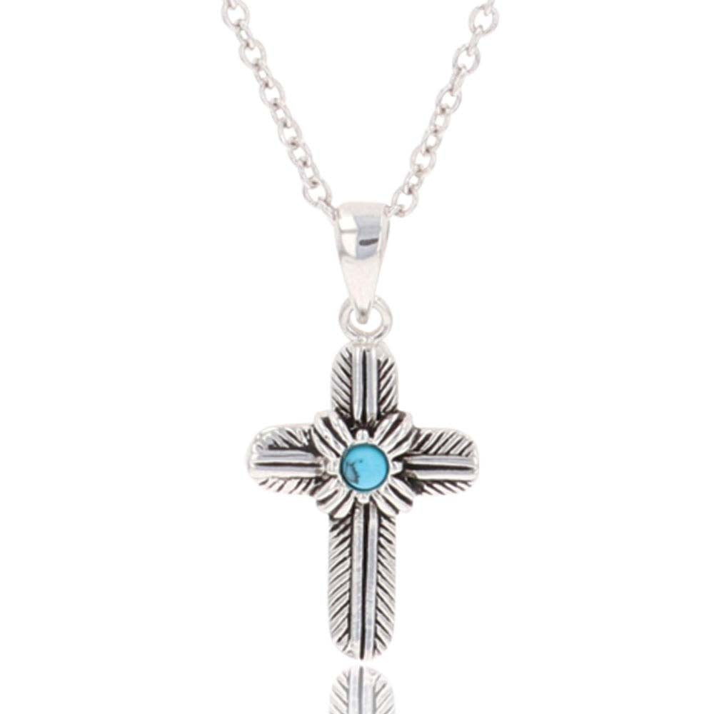 Feathered Cross Turquoise Center Necklace<br>Montana Silversmiths NC4529