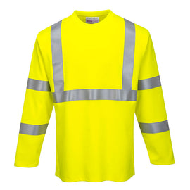 Portwest FR96YE Flame Resistant Hi-Vis Long Sleeve T-Shirt - CAT2, Type R, Class 3