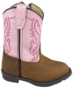 Toddler's Hopalong Brown/Pink Distressed Western Boot
