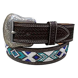 Turquoise Beaded Leather Belt<br>Western Fashion Accessories WB7052