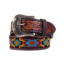 Load image into Gallery viewer, Beaded Red Floral Billet Belt<br>Twisted X XIBB-100