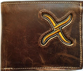 Wallet - Twisted X Bifold, Brown Distressed, Gold X