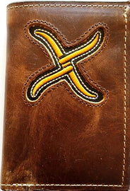 Brown Leather Tri-Fold Wallet with Gold Embroidered Logo<br>Twisted X XRC-T2