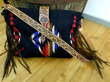 Twisted X Saddle Blanket Leather Strap Tote<br>XWLB-160