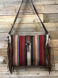 WOOL RED & BROWN SADDLE BLANKET PURSE/ CROSSBODY<br>Twisted X XWLB-162