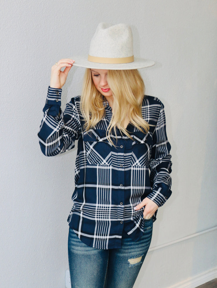 Blue Plaid Carol Top
