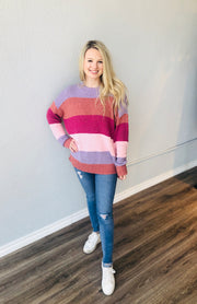 Sunset Stripe Woodsy Sweater