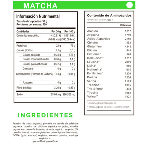 Image of Proteína orgánica One Nature de Matcha – 3 kilogramos - One Nature Organic