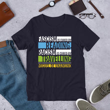 Load image into Gallery viewer, Fascism is Cured by Reading Unisex T-Shirt