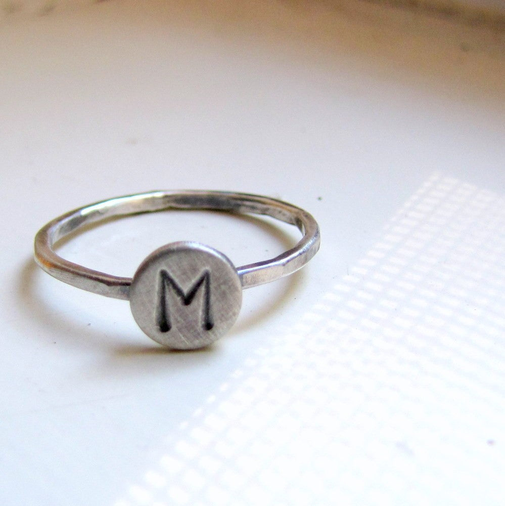 "Rustic Sterling Initial Ring with 1/4"" disc"