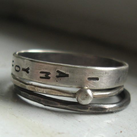 Personalized Wedding Rings - 3pc Stacking Set - Recycled Metal