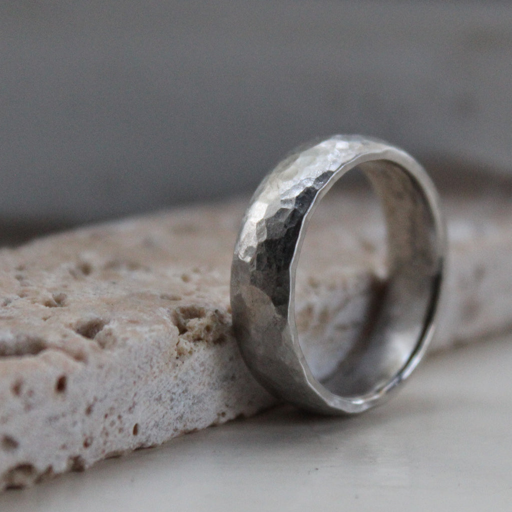 Rustic Men's Hammered Palladium Wedding Band