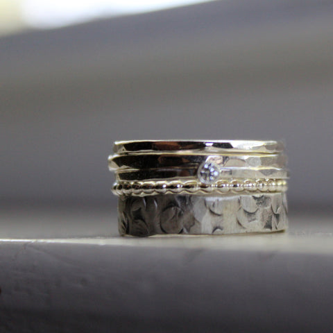 Unique Stacking Rings with Diamond Solitaire in Sterling Silver