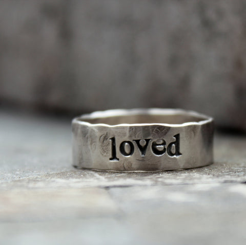 Daddy Ring - Personalized Mens Hammered Sterling Band - Rustic and Distressed